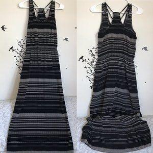 BANANA REPUBLIC maxi dress black cream striped 0P